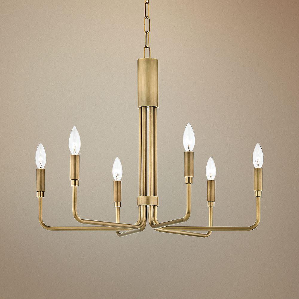 "Mitzi Brigitte 25"" Wide Aged Brass 6-Light Chandelier - Style # 47J52"