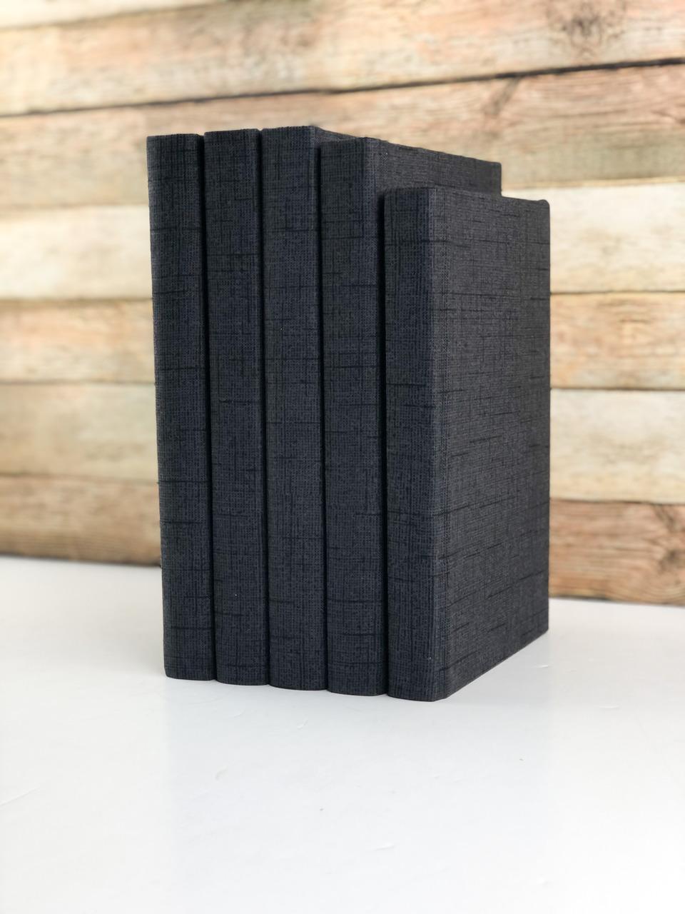 Set of 3 Decorative Books- Textured Black
