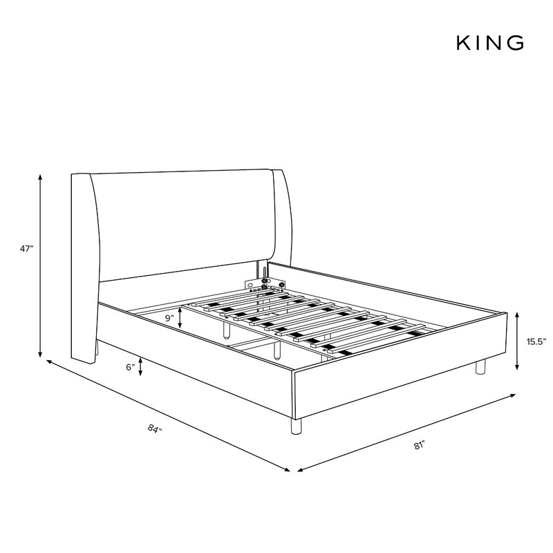 Alrai Wingback Upholstered Platform Bed