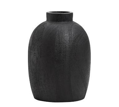 Burned Wooden Vase, Black, Large