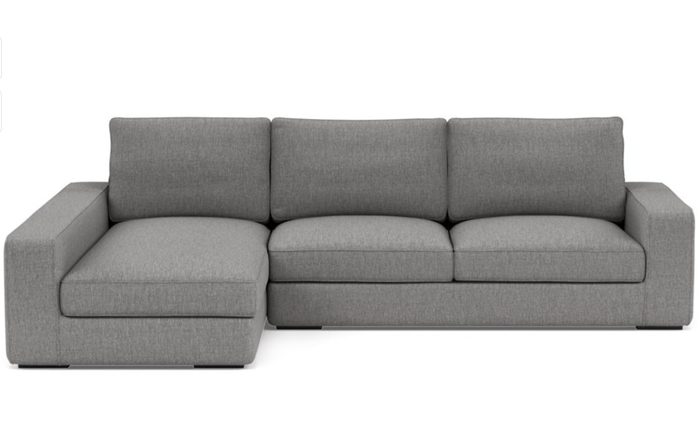 AINSLEY Sectional Sofa with Left Chaise/ Matte Black Ainsley Low L Leg