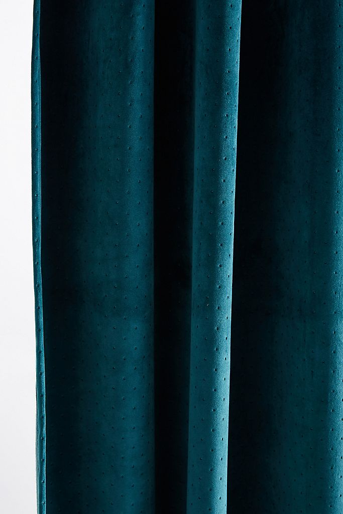 Velvet Louise Curtain-Teal