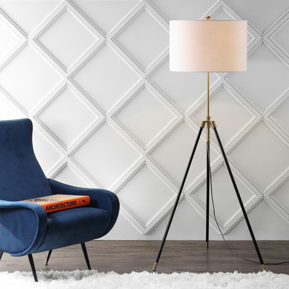 JONATHAN Y Lucius 67 in. Black/Brass Adjustable Metal LED Floor Lamp
