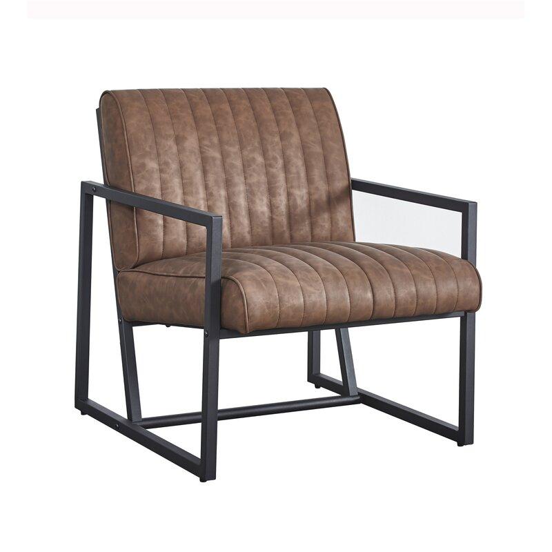"""Parise 26"""" W Tufted Faux Leather Armchair"""
