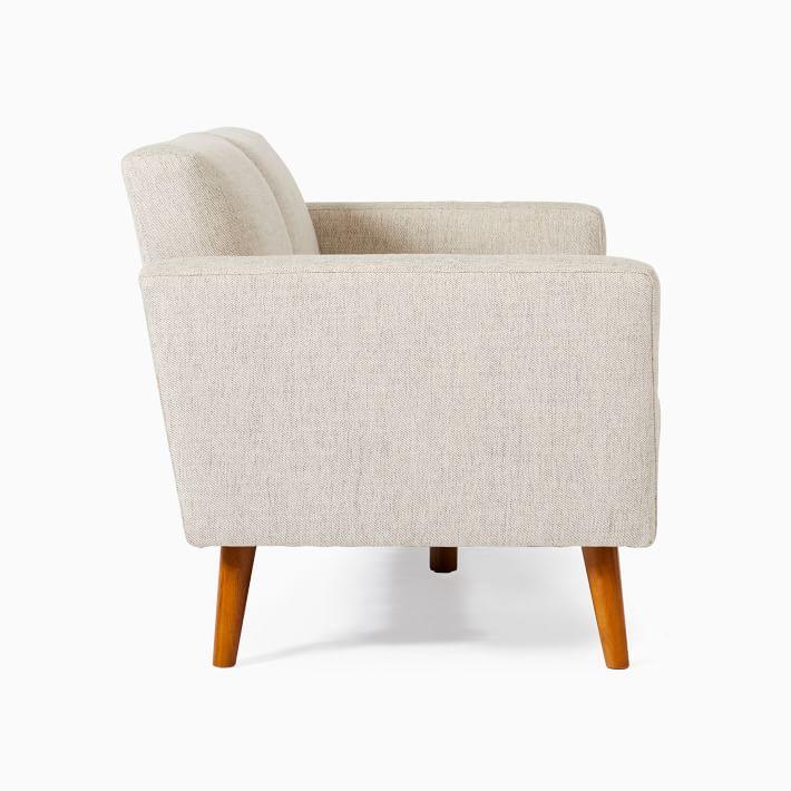 Oliver 2 Seater Sofa, Stone, Twill, Light Walnut