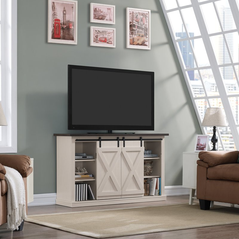 "Loon Peak Bluestone TV Stand for TVs up to 60"" - Off-White/Expresso"