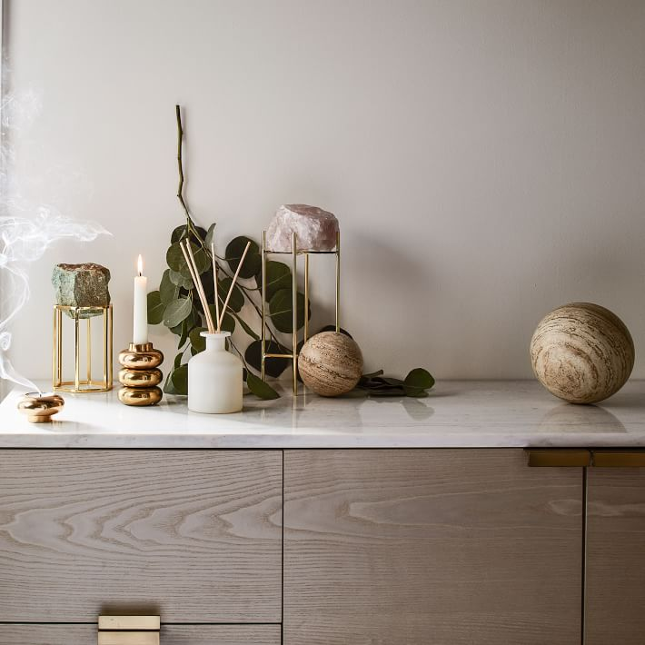Natural Stone on Stand Objects, White