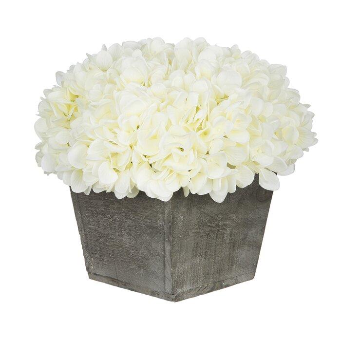 Artificial Hydrangea Floral Arrangement in Planter