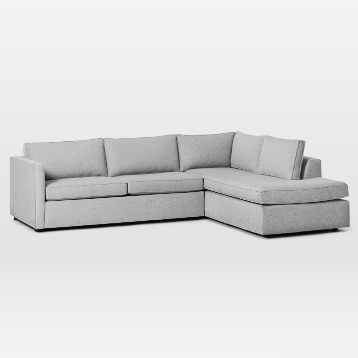 "Harris Sectional Set 09: Left Arm 65"" Sofa, Right Arm Terminal Chaise, Poly, Chenille Tweed, Irongate,"
