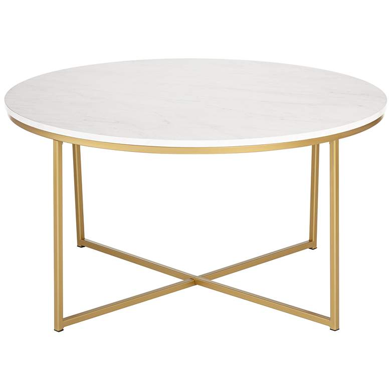 Aurelia Faux Marble and Gold Round Coffee Table - Style # 24W56
