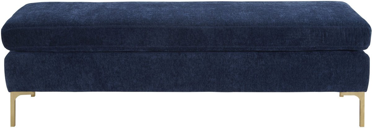 Dahlia Navy Textured Velvet Bench