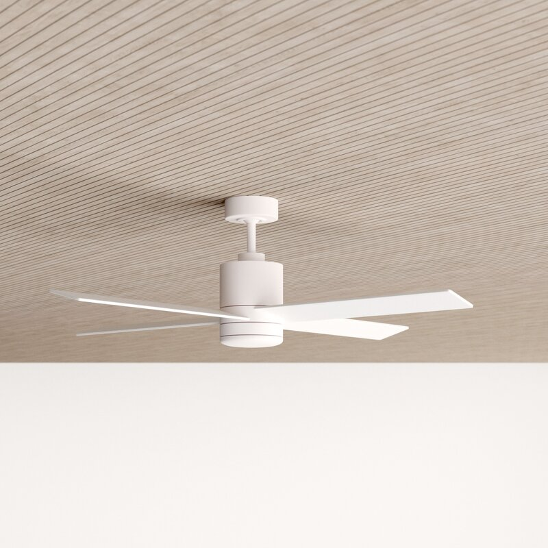 """52"""" Rinke 4 Blade Ceiling Fan with Remote, Light Kit Included"""