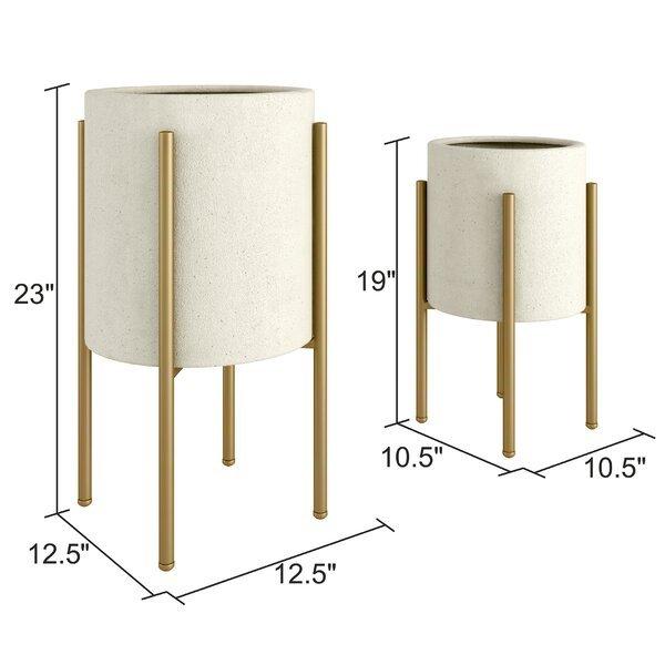 Resto 2 - Piece Metal Pot Planter Set