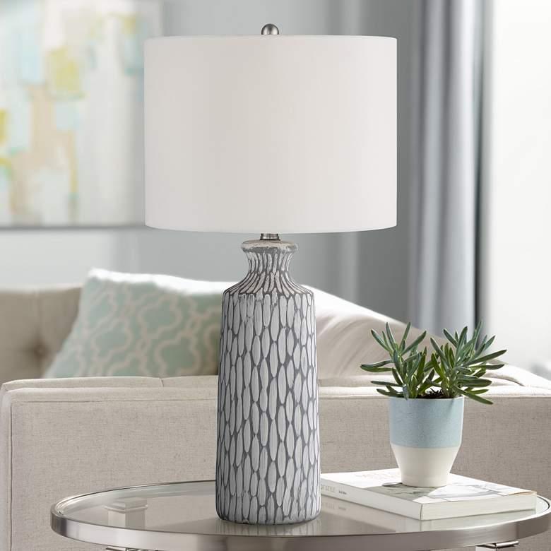 Patrick Gray and White Wash Ceramic Table Lamp