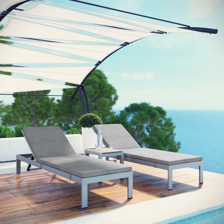 SHORE 3 PIECE OUTDOOR PATIO ALUMINUM CHAISE WITH CUSHIONS IN SILVER GRAY