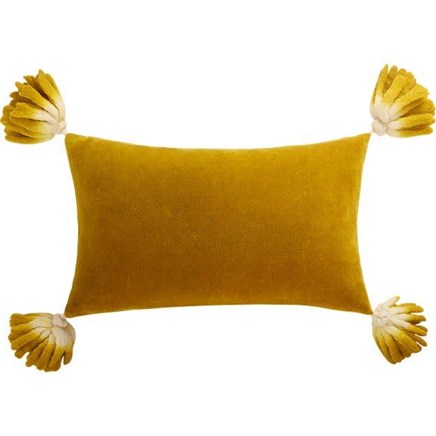 """18""""x12"""" Bia Tassel Pesto Velvet Pillow with Down-Alternative Insert"""