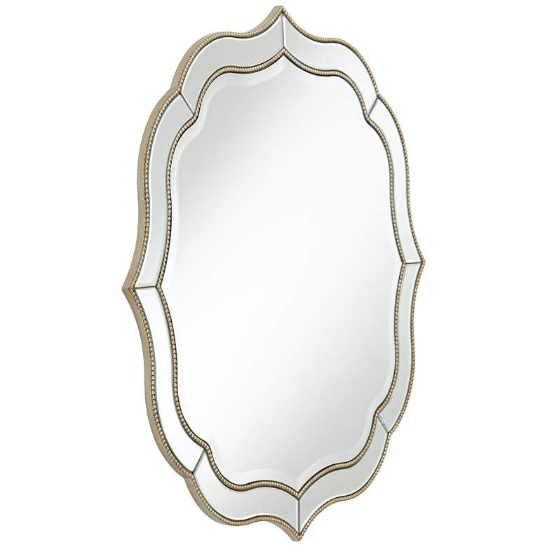 """Laureen Antique Silver 32"""" Scalloped Round Wall Mirror - Style # 60H67"""