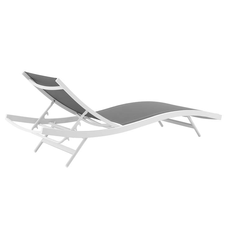 GLIMPSE OUTDOOR PATIO MESH CHAISE LOUNGE CHAIR IN WHITE GRAY