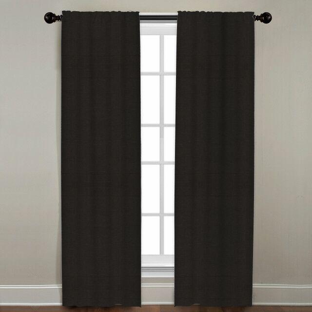 "Linen Drapery Single Panel, Black, 96"""