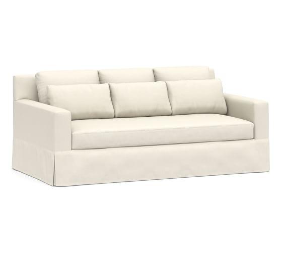 "York Deep Square Arm Slipcovered Sofa 79"" with Bench Cushion, Down Blend Wrapped Cushions, Sunbrella(R) Performance Boss Herringbone Ecru"
