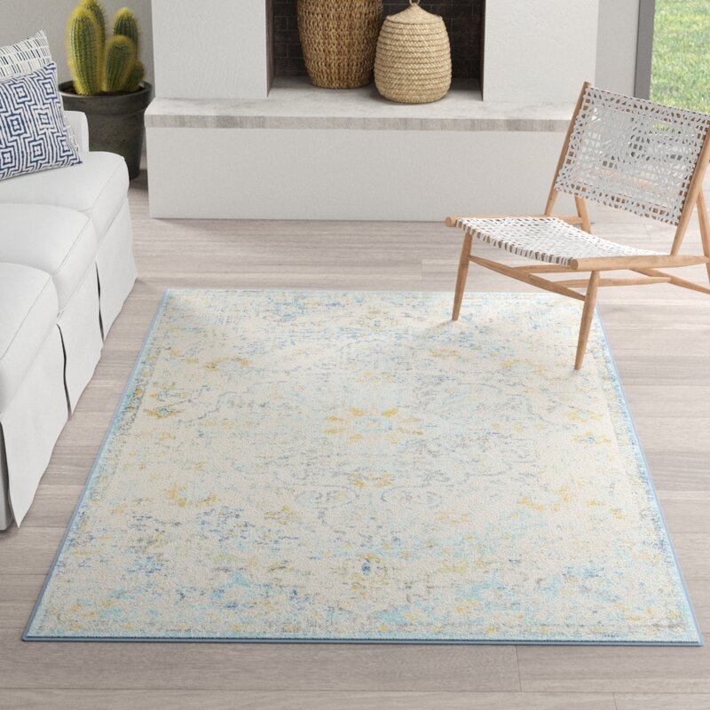 Hillsby Oriental Ivory Cream/Teal/Yellow Area Rug