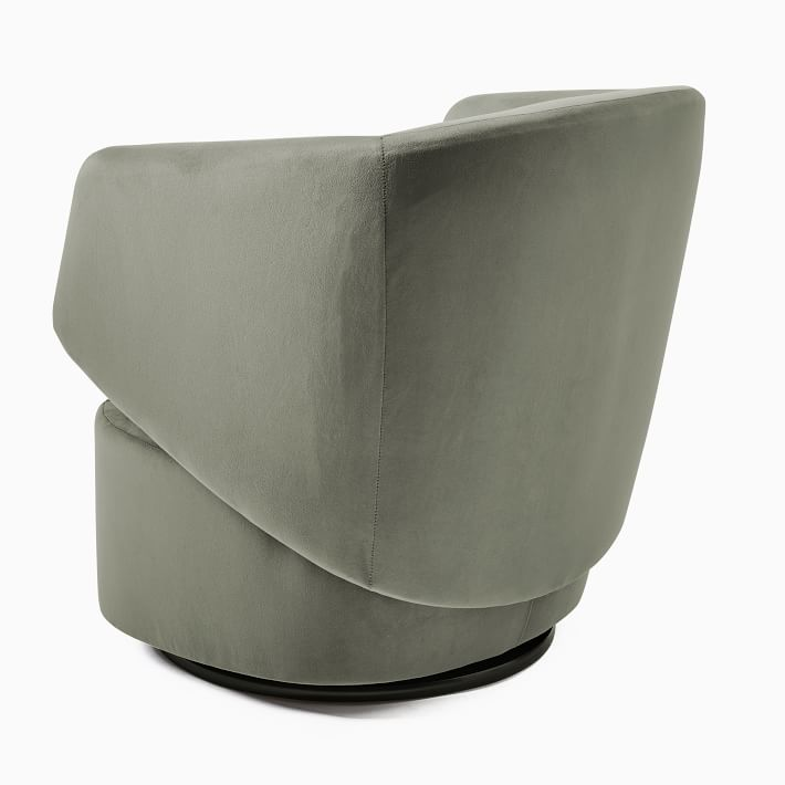 Crescent Swivel Chair, Distressed Velvet, Green Spruce, Concealed Support