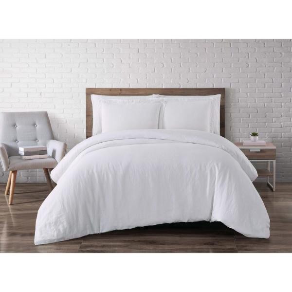 Brooklyn Loom Linen White Queen Duvet Set