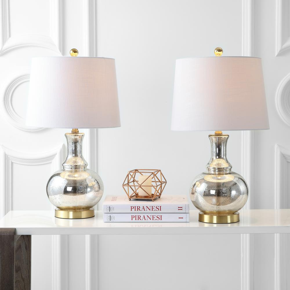 JONATHAN Y Lavelle 25 in. Mercury Silver/Brass Gold Glass Table Lamp (Set of 2)