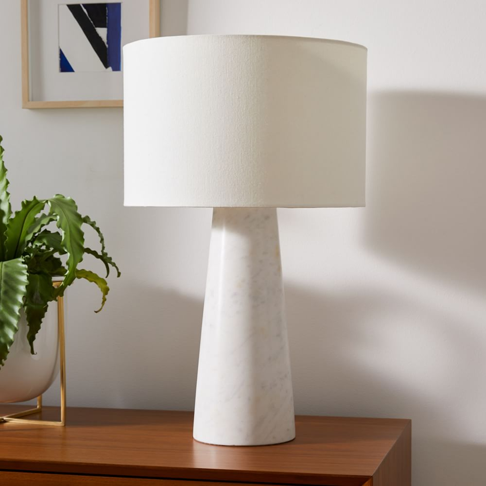 """Foundational Marble Table Lamps, 22"""", White, Set of 2"""
