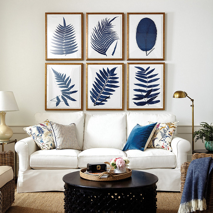 """Indigo Fern Leaf Art / Print V / 26"""" x 20"""""""