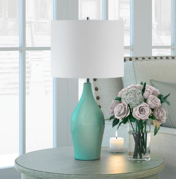 Hudson&Canal Niklas 28-1/4 in. Teal Blue Table Lamp