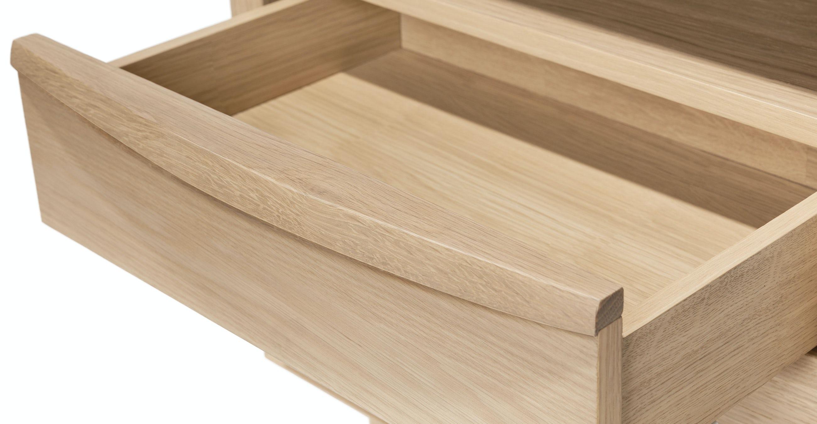 Lenia White Oak 2 Drawer Nightstand