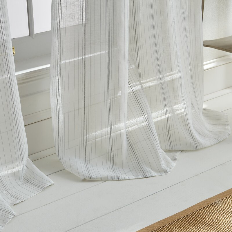 Hampton Striped Sheer Single Curtain Panel