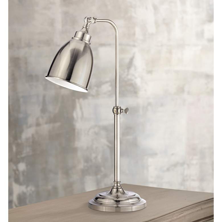 Brushed Steel Metal Adjustable Pole Pharmacy Table Lamp