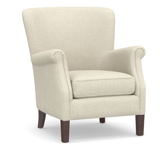Reyes Upholstered Armchair, Polyester Wrapped Cushions, Basketweave Slub, Oatmeal