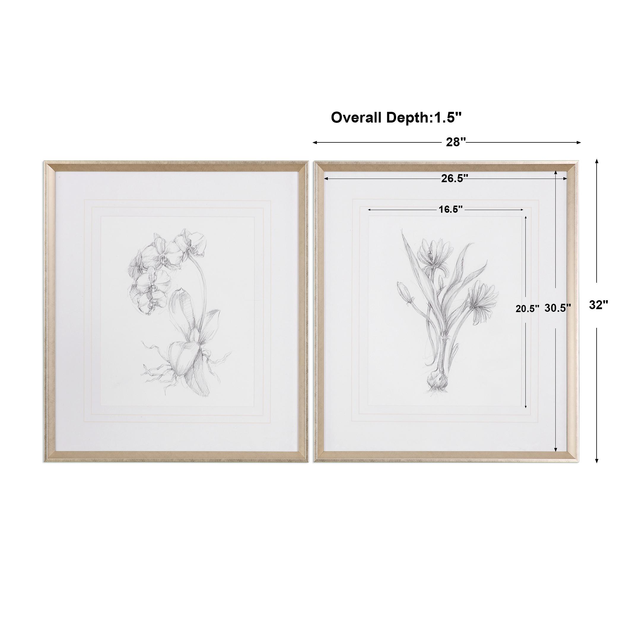 Botanical Sketch Art, Set of 2
