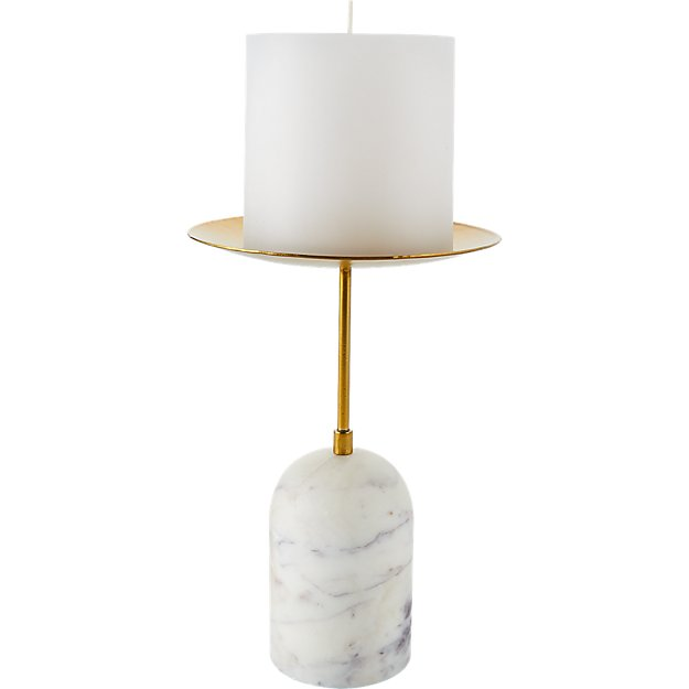 NUMA MARBLE AND BRASS PILLAR CANDLE STAND SMALL