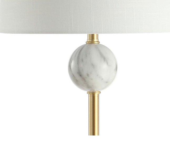 JONATHAN Y Vaughn 60 in. Modern Metal/Resin LED Floor Lamp, Brass Gold/White