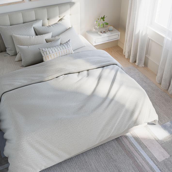 Organic Cotton Diamond Crinkle Duvet & Standard Shams Set, White, Full/Queen
