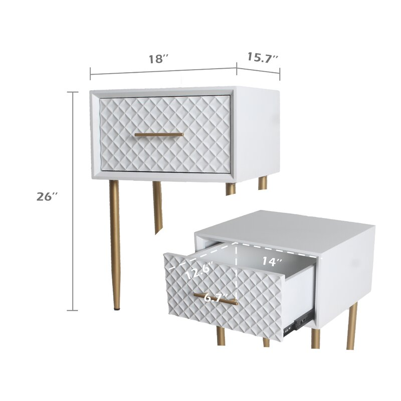 Mcdaniel 1 - Drawer Metal Nightstand in White