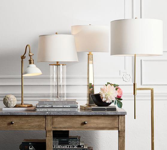 Atticus Classic Floor Lamp, Antique Brass