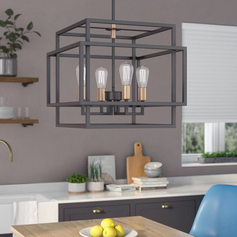 Dewees 4-Light Candle Style Rectangle / Square Chandelier