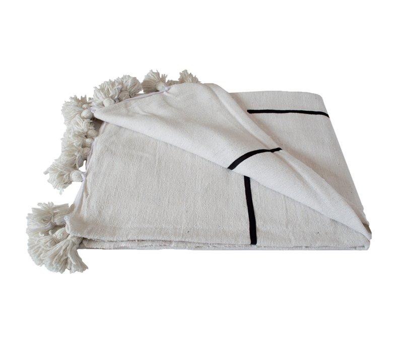 Juno King Pom Pom Cotton Blanket - Pink on Gray