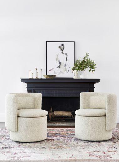Hazel Swivel Chair, Natural Boucle