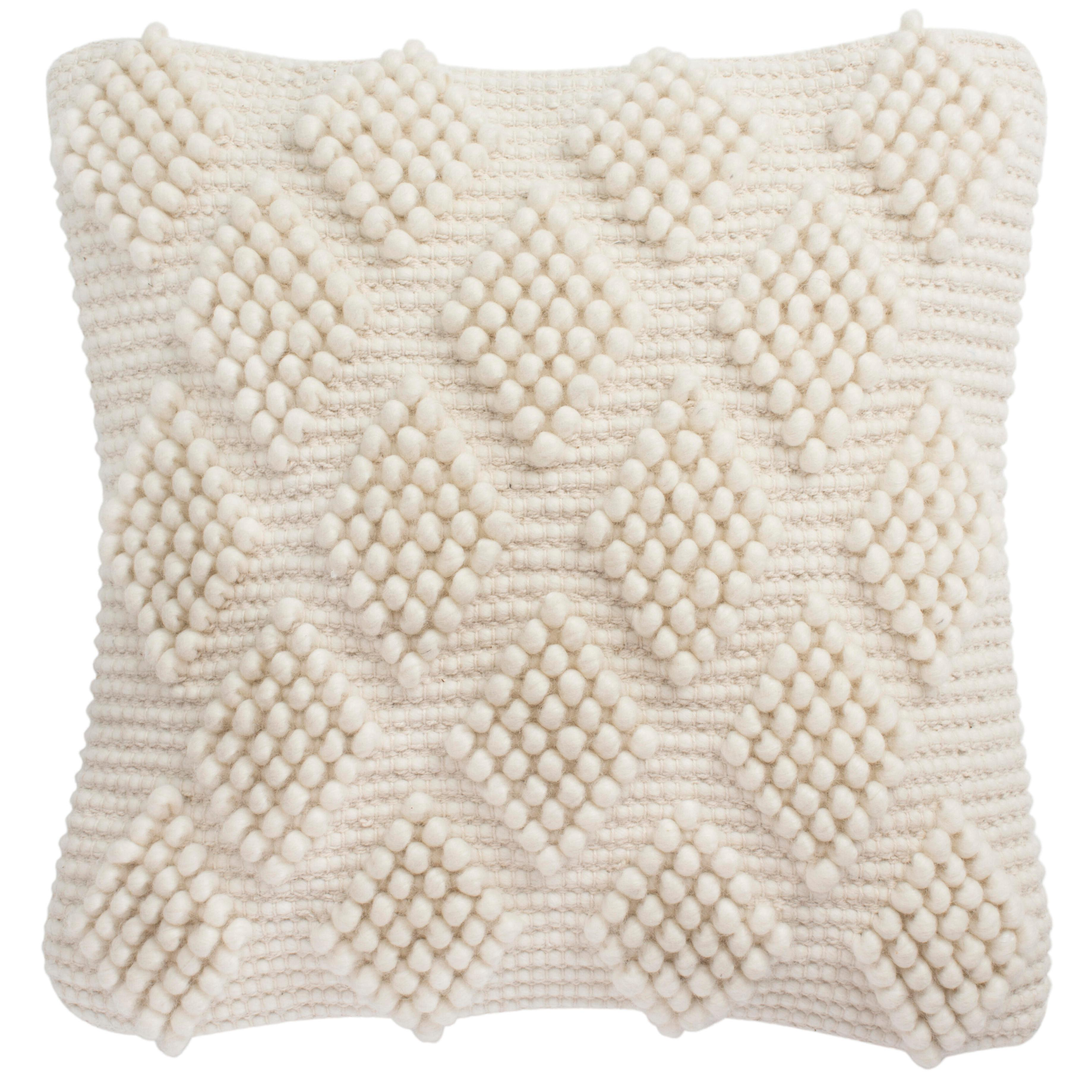 "Spaced Diamond Natural Geometric Throw Pillow/ Down/ 20"" x 20"""