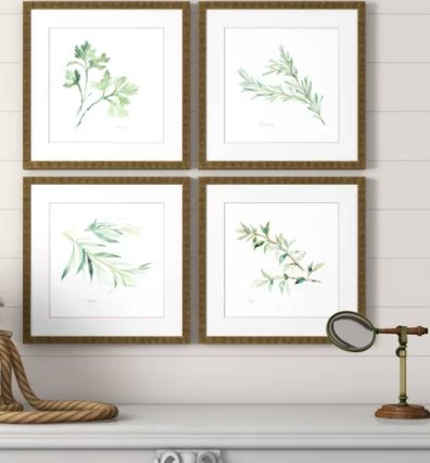 Herbs by Paschke - 4 Piece Picture Frame Graphic Art Print Set on Paper