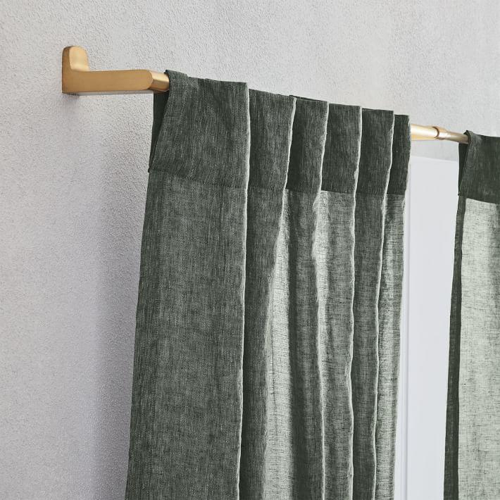 "Belgian Flax Linen Melange Curtain, 48""x84"", Olive"