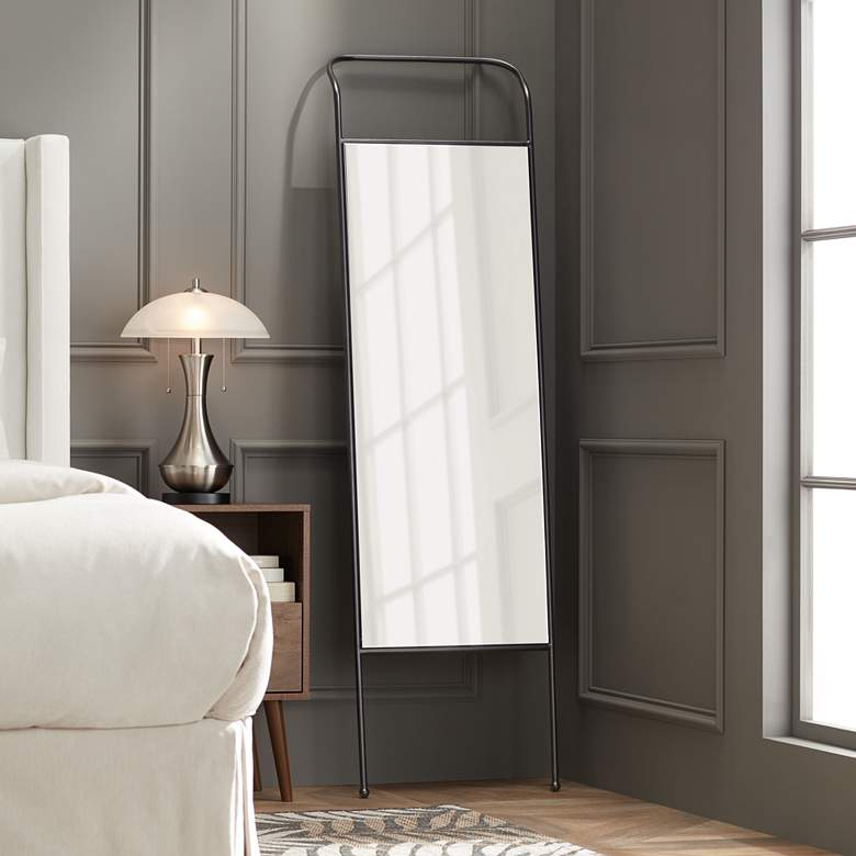 "Dalby 19 3/4"" Wide Black Rectangular Floor Mirror - Style # 70T32"