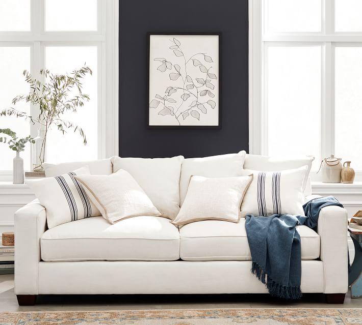 "PB Comfort Square Arm Upholstered Grand Sofa 89"", Box Edge Memory Foam Cushions, Performance Heathered Tweed Pebble"