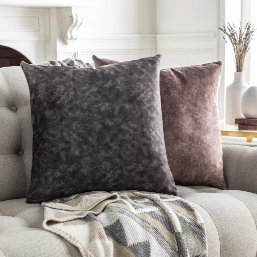 """Fine Velvet Pillow, Charcoal, 20""""x20"""""""